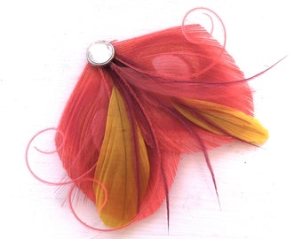 SHARYN Sunset Coral, Yellow, Burgundy and Dusty Rose Peacock Feather Hair Clip, Feather Fascinator