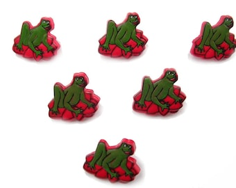 LOT 6 buttons: frog green Lily pad red 16mm