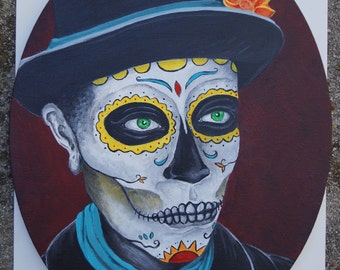 Original Acrylic Dia De Los Muertos Paintings-Buy separate or get the pair 11x14 Oval Portraits