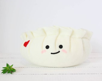 Dumpling Plush, Food Plush, Dim Sum Plush, Dim Sum, Potsticker Plush, Gyoza Plush, Meat Dumpling, Stuffed Animal