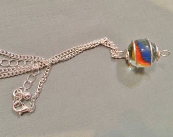 Silver Wire Caged Marble Pendant Necklace #20024