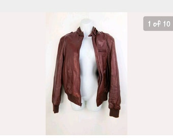 Vintage 70s Sartell Women's Brown Genuine Leather Motorcycle Bomber Jacket Size 29