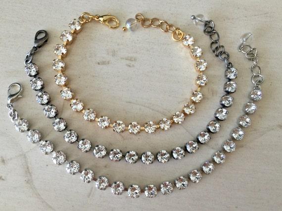 Stackables Clear Swarovski Crystal Bracelet, Select Setting Color