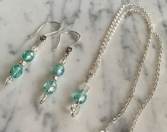 Mint Green Swarovski Crystal Necklace Set Sea Foam Swarovski Crystal Necklace Set Green Crystal Necklace Long Swarovski Crystal Necklace Set