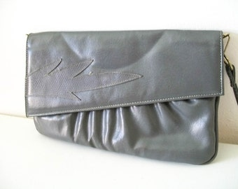 Vintage 80s leather slate grey clutch purse with strap
