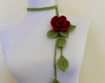 Crochet  Burgundy  Rose  Lariat  Scarf Scarflette  Necklace Gift  Summer  Spring  Fiber art  Wrap  Women Girls Jewlry