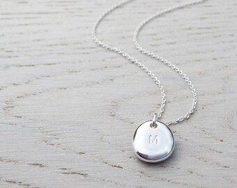 Silver Pebble Initial Necklace, Polished Finish, Solid Sterling Silver