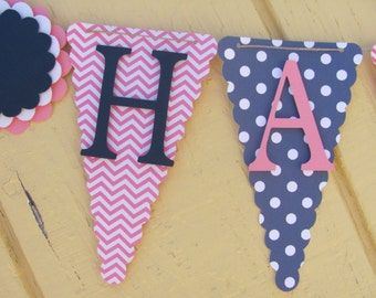 Pink, and Navy Blue Happy Birthday Banner, Birthday Banner,
