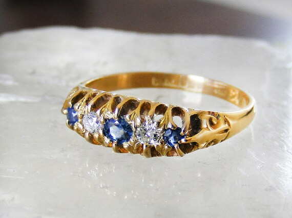 Antique Sapphire & Diamond Engagement Ring | 18ct Gold Blue Sapphire Edwardian Ring 1907 Hallmarked Gold - US Ring Size 7 1/4, UK Size O 1/2