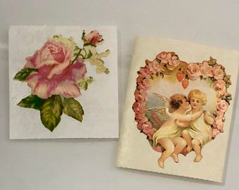 Vintage Samdylion Victorian Rose and Cupid Heart Stickers
