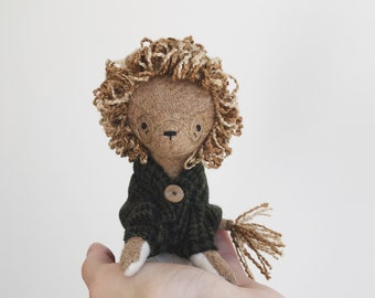 studious lion - handmade soft sculpture animal