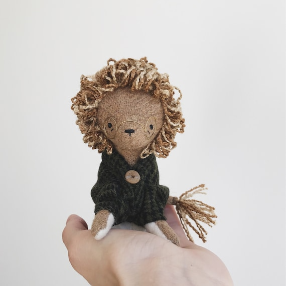 studious lion - handmade soft sculpture animal