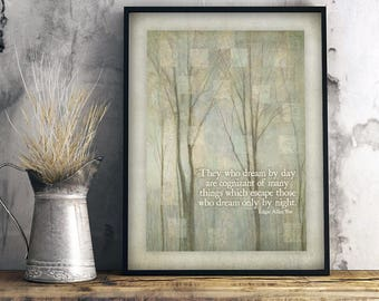 Dream By Day, Edgar Allan Poe, Eleonora quote, Poe quote print, gift for artist, office wall art, pastel wall art, library art, pastel goth