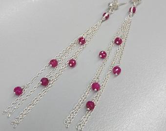 Ruby Earrings, Red Ruby Earrings, Tassel Earrings, Red Ruby Sterling Silver Long Tassel Earrings, Long Dangle Earrings, July Birthstone