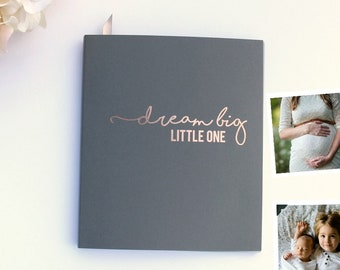 Fast Shipping> Baby Memory Book Grey w/Embossed Rose Gold Foil.Flat-lay Softcover, Baby Shower Guest Book, Keepsake Baby Book, Advice Book