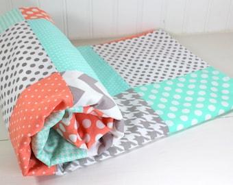 Baby Blanket, Minky Baby Blanket, Baby Quilt, Patchwork Quilt, Baby Shower Gift, Nursery Decor, Peach, Mint, Gray, Grey, White, Chevron