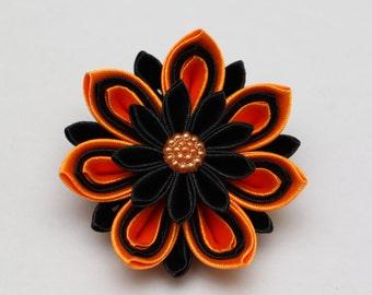 9 May/ Victory day Handmade brooch, Kanzashi, orange and black