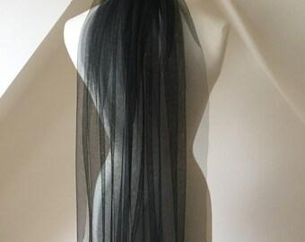 Mikah jet black elbow-length silky veil