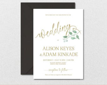 Rustic Wedding Invitation Template-Leaves Watercolor Wedding Invite-Printable Wedding Invitations-Editable PDF-DOWNLOAD Instantly| VRD152AF