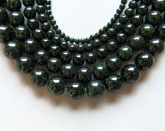 Full Strand 15inches Green Sandstone Round Beads - A488