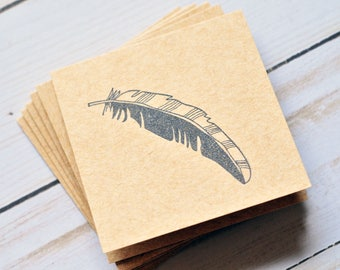 Feather Mini Cards // Blank Cards // Tribal // Guestbook // Love Note // Best Wishes // Square Cards