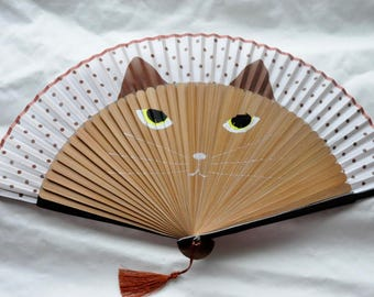 Cat Hand Fan with sleeve -Handheld Folding Fan, Japanese Hand Fan,Japanese folding fan,cherry blossom