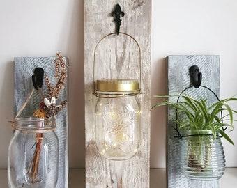 Reclaimed handmade rustic wood jar hangers | wall hanger | wall display | sconce