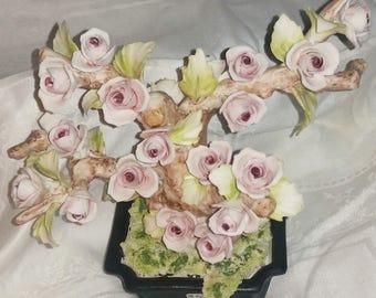 Capodimonte Fullin Mollica Rose Tree Figurine, Capodimonte, Fullin Mollica, Rose Tree Porcelain Figurine, Italian Capodimonte, Collectible