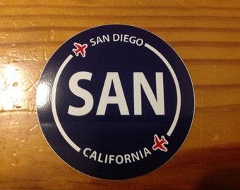San Diego SAN California Souvenir Airport Sticker