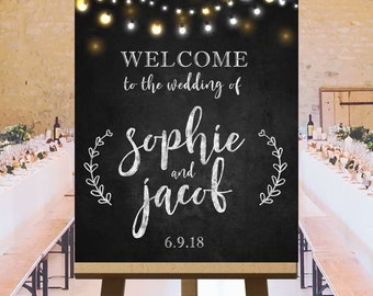 Rustic chalkboard wedding signs large, wedding ceremony welcome sign, reception printables, string lights chalkboard customized DIGITAL