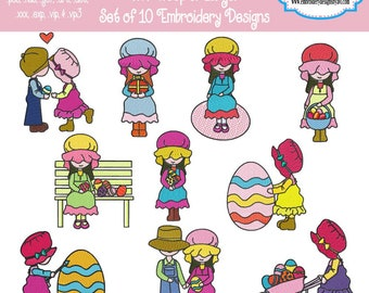 Easter Sunbonnet Sue Machine Embroidery Designs Set of 10 4x4 hoop Instant Download Sale