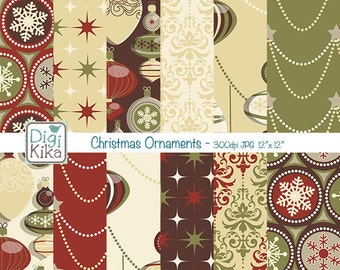 Christmas Ornaments Digital Papers - Christmas Time Tileable/Seamless Pattern - website background, textile print - Instant Dow