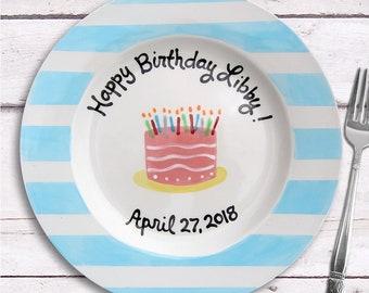 Birthday Cake Plate - Birthday Girl - Personalized Birthday Gift - Personalized 1st Birthday - Cake  sc 1 st  Etsy & Birthday cake plates | Etsy