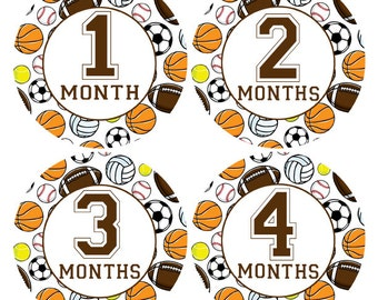 FREE GIFT, Monthly Baby Stickers, Sports Milestone Stickers, Baby Month Stickers, Month to Month, Sports Photo Prop, Sports Nursery (320)