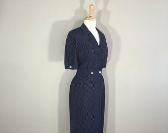 Polka a Dot Dress, VIP Petite Navy Dress, 70s Navy Polka Dress, ILGWU Dress, Short Sleeve Dres