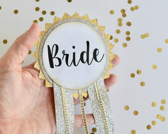 LARGE Bride Pin, Silver and Gold