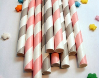 50 Pink and Gray Paper Straws
