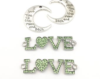 4 love connectors  and charm silver tone  29mm x 50mm #CON 158