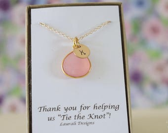 10 Initial Bridesmaid Necklace Pink, Bridesmaid Gift, Blush Pink Gemstone, Gold, Monogram Jewelry, Personalized, Pink Gemstone Charm