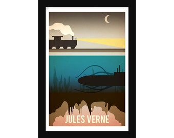 Jules Verne Book Art - Book Gift - Book Author Poster, - Literature Poster - Bookworm Gift - Librarian Gift - Reading Gift - Vintage Poster