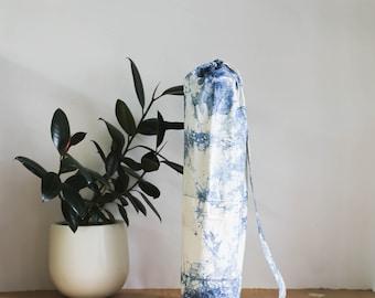 Yoga Mat Bag - SPLASH, Yoga Bag with Pocket, Indigo Yoga Bag, Yoga Bag with Strap, Yoga Mat Carrier, Indigo Dyed Bag, Annabelle Taylor Co.