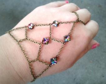 Rainbow Gems Slave Bracelet Boho Hand Chain Net Slave Bracelet Rare Antique Gems Hand Chain Net Hand Chain Caged Hand Chain Gift For Her