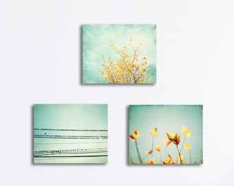 Set of 3 Wall Canvas Prints, mint yellow light teal turquoise gold nature photography tree branches canvas gallery wrap botanical photo set