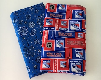 Rangers hockey fabric, reversible custom pet bandanas, sizes XS-XL, dog scarf, pet scarf, dog bandana, pet clothing, pet attire, pet wear