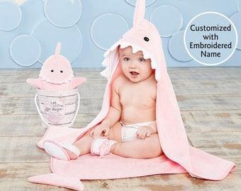 Pink Shark Hooded Bath Towel, Baby Bath Towel, Terry Cloth Towel, Shark Hooded Towel, Baby shower gift, Baby Aspen Bath time gift set