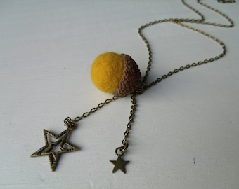 Natural Merino Wool felted Acorn necklace mustard yellow