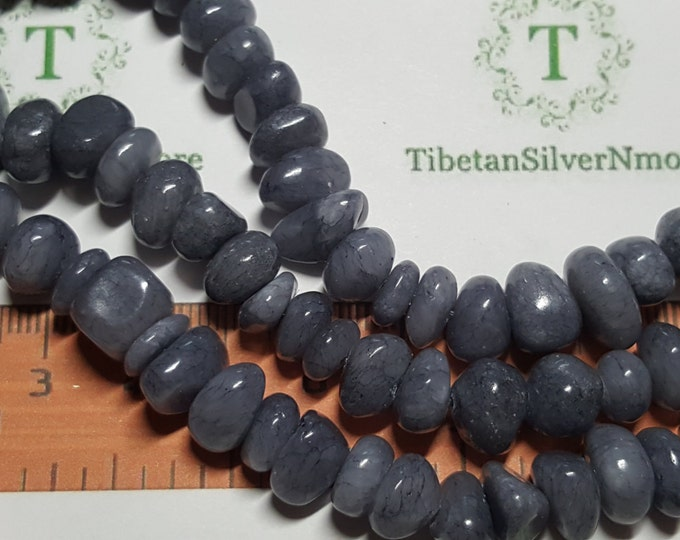 18 inches of 6 - 8mm small tumbled dyed Grey Agate Stones