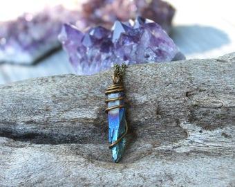 Raw Stone Jewelry - Titanium Aura Quartz Necklace - Blue Crystal Point Necklace - Boho Gypsy Jewelry - Bohemian Necklace Hippie Boho Jewelry