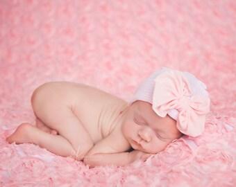 Newborn Hospital Hat   Beanie Bow   baby girl pink soft stretchy cap