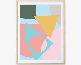 Abstract Art Print, Collage, Printable Wall Art, Nursery Print, Wall Art, Nursery Art, Digital Download, Paper Art, Mid Century Art Print